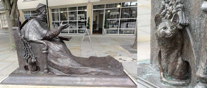 David Annand's statue of Cardinal Wolsey in Ipswich, shown with his pet cat.