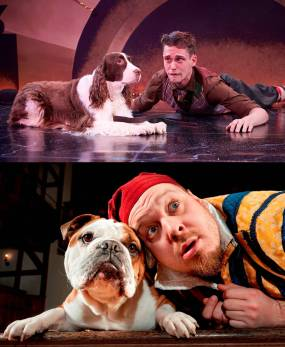 Above: Crab the dog and Launce from The Two Gentleman of Verona, played by Julie and Matthew Alan Ward of the Annapolis Shakespeare Company. Below: Launce played by Benjamin Curns, with Crab the dog, played by a scene-stealer from Augusta Dog Adoptions, in an American Shakespeare Center production of The Two Gentleman of Verona.