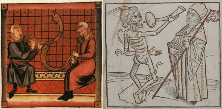 Left: Bladder pipes from the Cantigas de Santa Maria, c. 1260–80, a book of songs in praise of the Virgin Mary. Its commissioner, Alfonso X, ruled regions now in Spain and Portugal. Right: A bladder pipe from the Heidelberger Totentanz, 1488, a German book of 38 prints from woodcuts, author unknown, depicting the dance of death. You can see and hear a bladder pipe being played here.