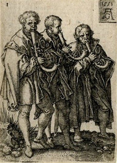 A print from Heinrich Aldegrever's series of 1551, The Small Wedding Dancers, depicting 3 town pipers playing crumhorns.