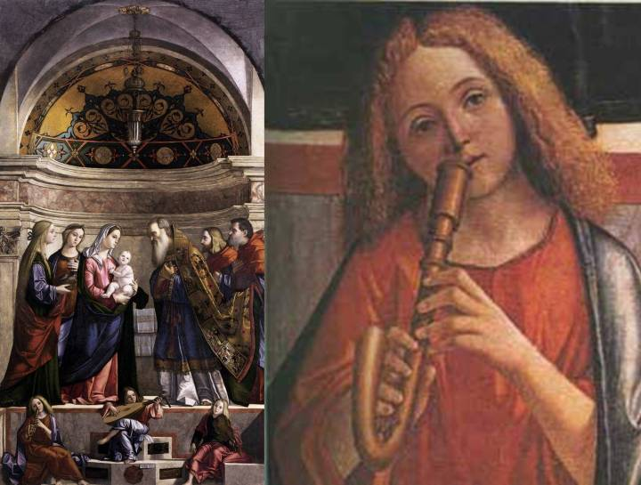 Presentation of Christ in the Temple by Italian painter, Vittore Carpaccio, 1510, showing the crumhorn in a religious setting, with a lutenist and viola da braccio player.