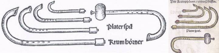 "2 German illustrations of the crumhorn consort. Left: From Sebastian Virdung, Musica getutscht, 1511, showing 4 crumhorn sizes, though the text describes only 3. Could the smallest be Corteccia's stortina and Praetorius' exilent? Next to them is a ""Platerspil"", a bladder pipe. Bottom left: Illustrations identical to Virdung but reversed in Martin Agricola, Musica instrumentalis Deudsch, 1529, also with a ""Platerspiel"", a bladder pipe."