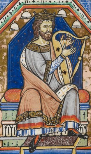 King David playing the harp, from the Westminster Psalter, c. 1200, contemporaneous with Mirie it is.