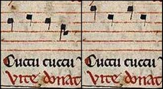 Left, the manuscript with notes clearly amended by the scribe. Right, the original notes digitally restored.