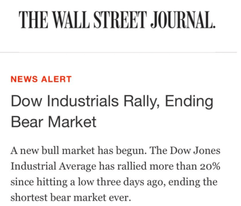WSJ calling the end of the Bear Market