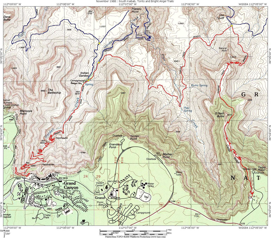 Topographical Trail Map