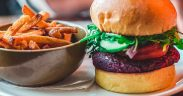 meatless meal with burger and fries