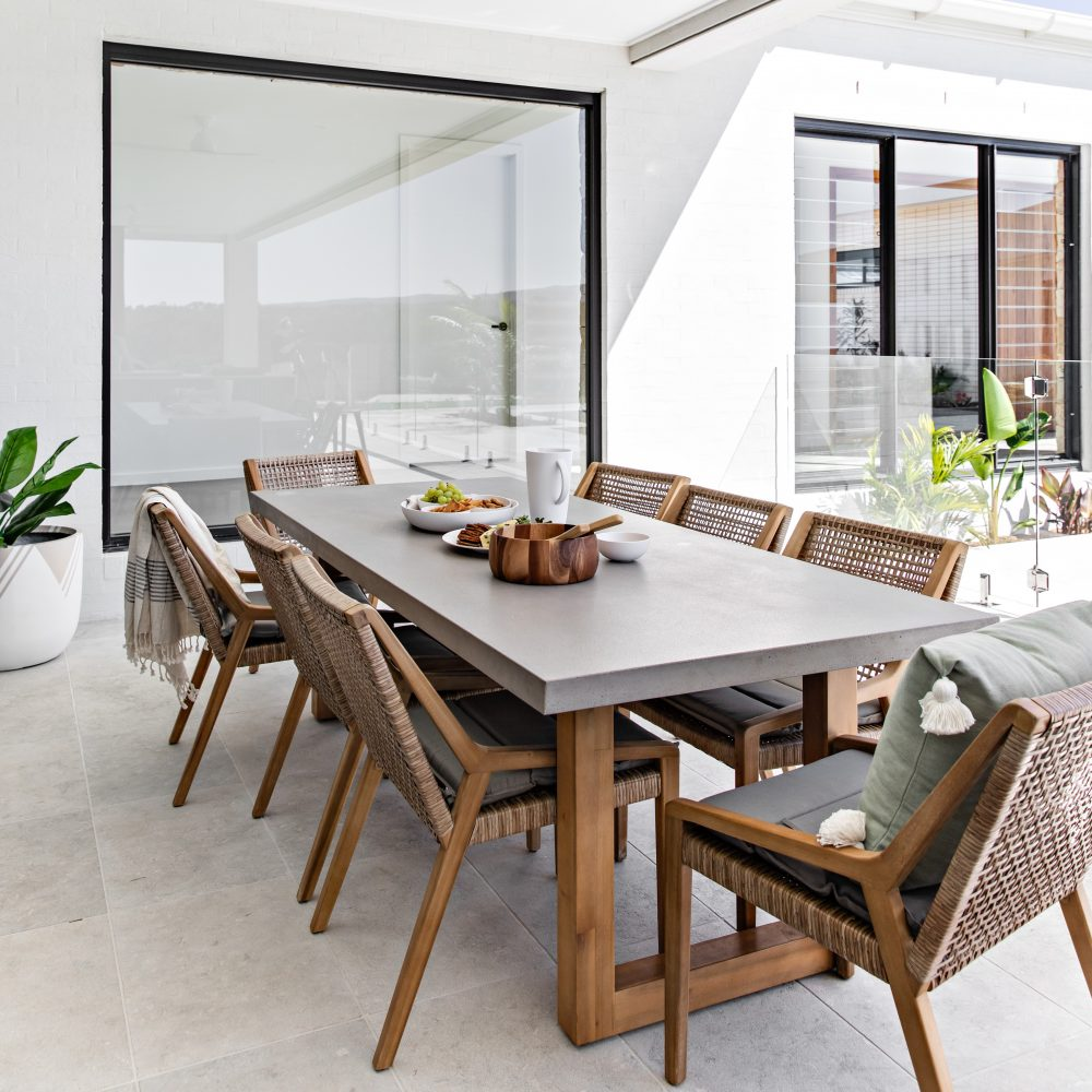 Oak & Orange: Poolside Paradise with Marson table and Weave chairs