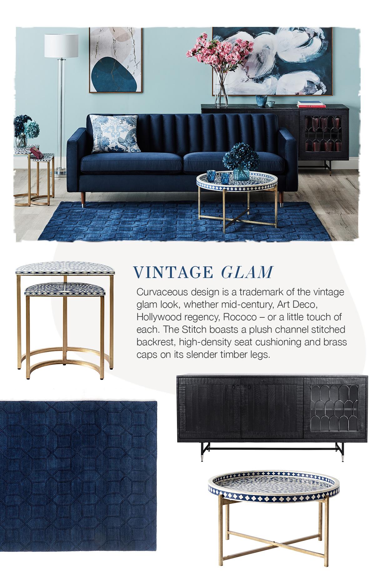 Up the Luxe with the Stitch Velvet Sofa 2 - blue velvet sofa