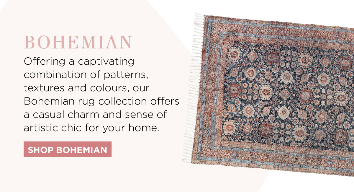 2021 Rug Collection: Offering a captivating combination of patterns, textures and colours, our Bohemian rug collection offers a casual charm and sense of artistic chic for your home.