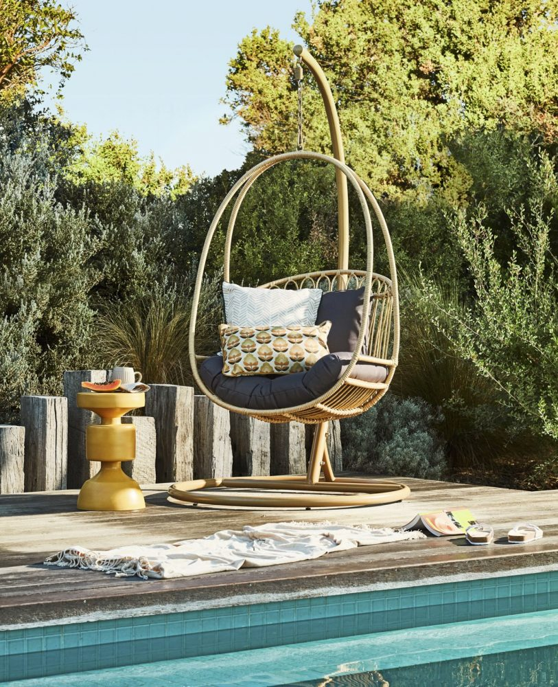 Outdoor Cushions in 6 Stylish Themes with hanging basket chair