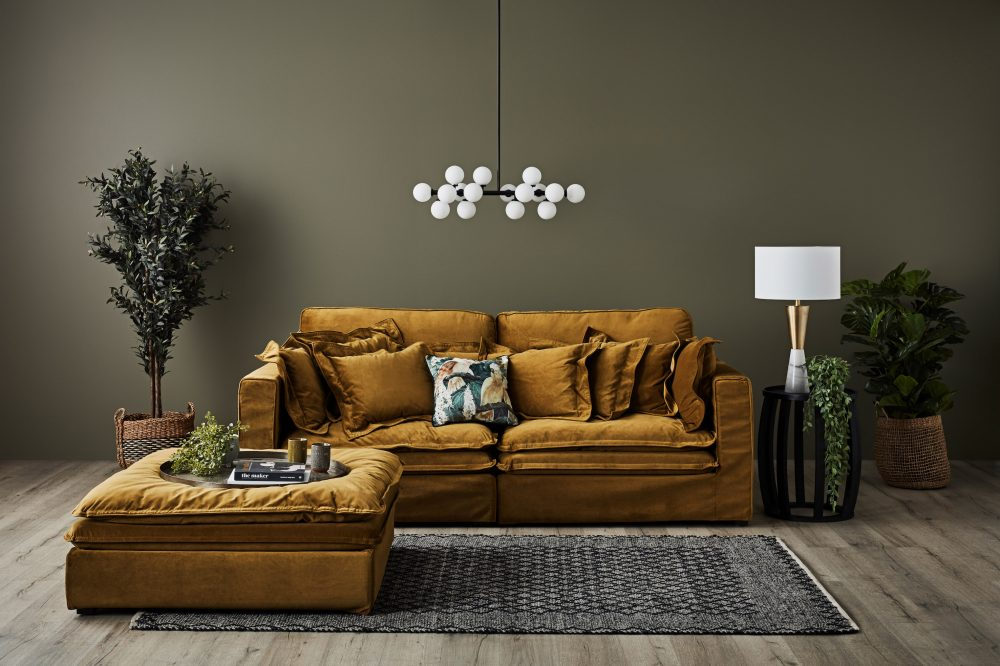 Slouch Sofa in Velvet & Earthy Tones with the Slouch in yellow gold