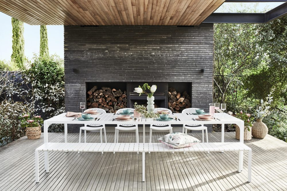 Spring Outdoor Furniture Trends with the white Kace dining table