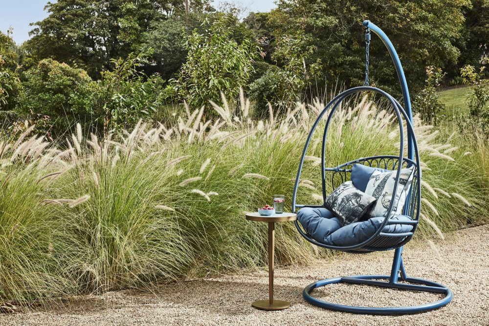Favourite Outdoor Furniture by Heather Nette King with the Byron Hanging Chair in blue