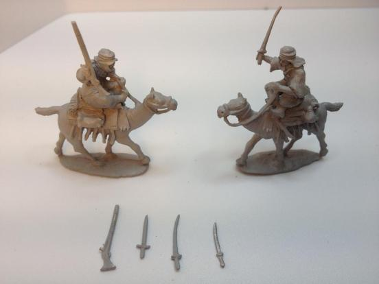 2 x Arab tribesman mounted on 2 camels with weapon options