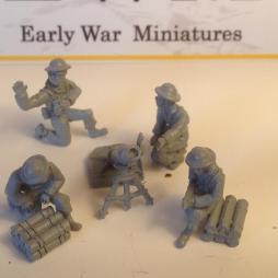 4.2 inch mortar, piles of Mortar ammunition tubes, 4 Crew