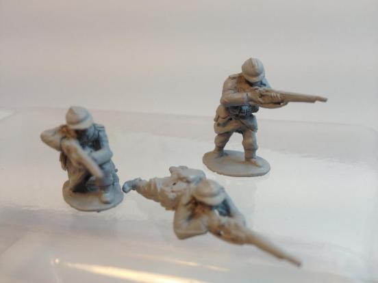 3 Infantryman firing rifles in standing, Kneeling and prone