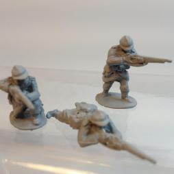 3 Infantryman firing rifles in standing, Kneeling and prone