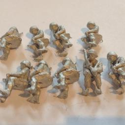 9 seated Polish infantry holding rifles. Suitable for mounting