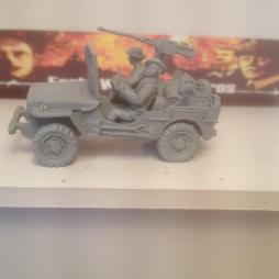 Early War Scout Jeep with 2 crew in Kelly Helmets,