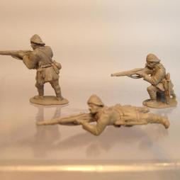 Turkish infantry firing Rifle standing wearing sun helmet