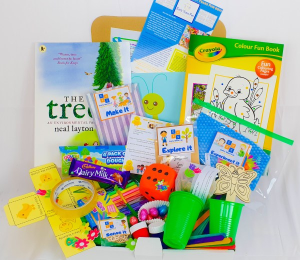 spring themed activity box. childrens subscription box