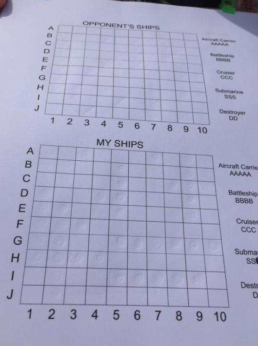 Battleship sheet