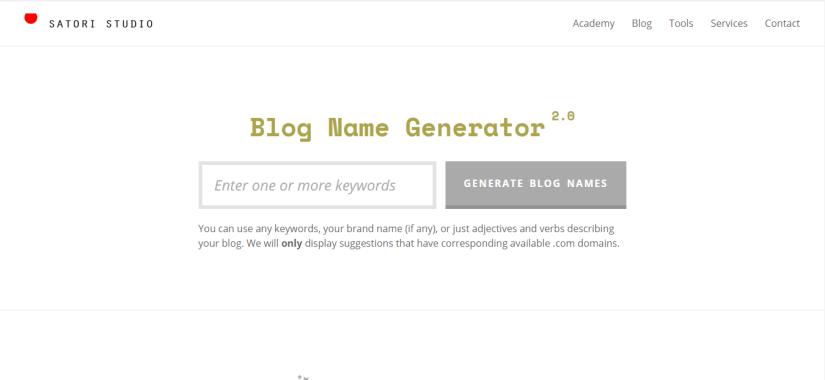 Satori Studio free blog name generator tool