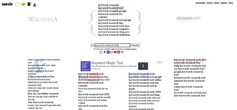 Soovle - Free Keyword research tool