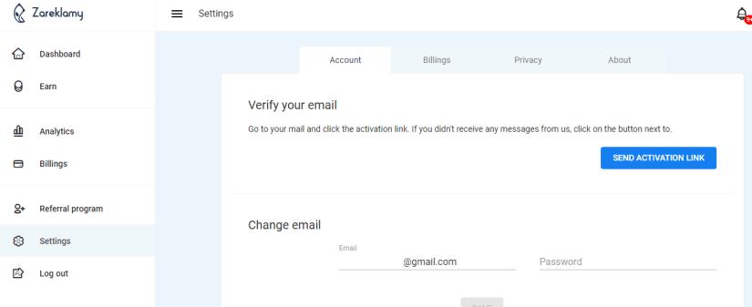 Zareklamy Account Settings Page
