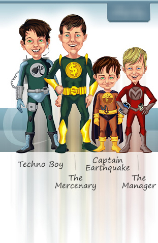 banner section from new site design showing caricatures of 4 boys