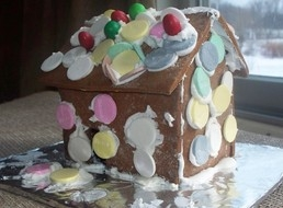 Gingerbread house decorated with Necco wafers