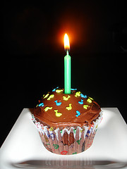 lit candle sticking out of cupcake