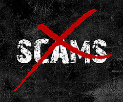 the word scams on black background covered by large red x