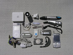 big display of technical gadgets on table