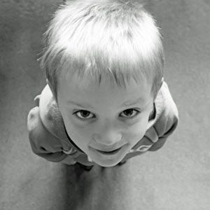 child looking up at camera