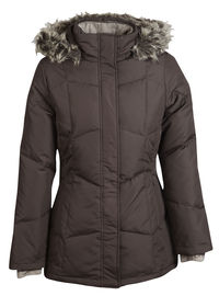 woman's chocolate colored down coat