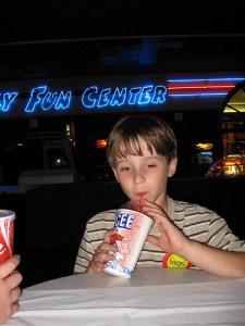 boy drinking icee