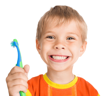 boy holding toothbrush with big smile