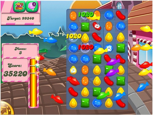 screen shot of candy crush saga game