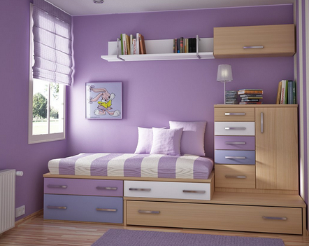 girl's bedroom decorated in white and lavendar