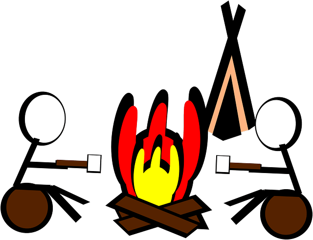 illustration of 2 kids roasting marshmallows over campfire