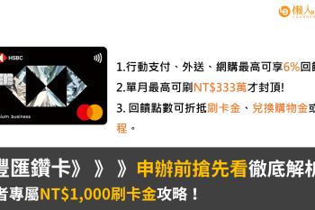 匯豐匯鑽卡完整指南:行動支付最高可享6%無上限現金回饋+讀者專屬NT$1,000刷卡金攻略!