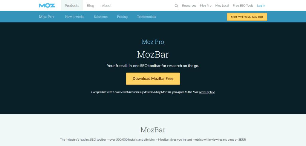 MozBar extension for Chrome