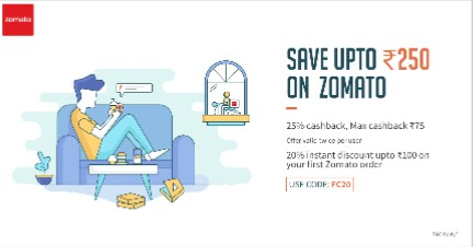 Zomato – Get Upto Rs.250 Cashback Using Freecharge