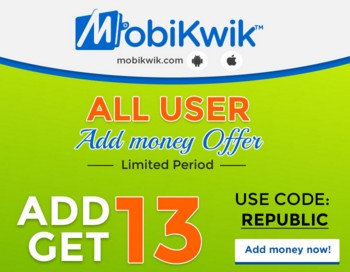 Mobikwik REPUBLIC – Add Rs.13 & Get Cashback Of Rs.13