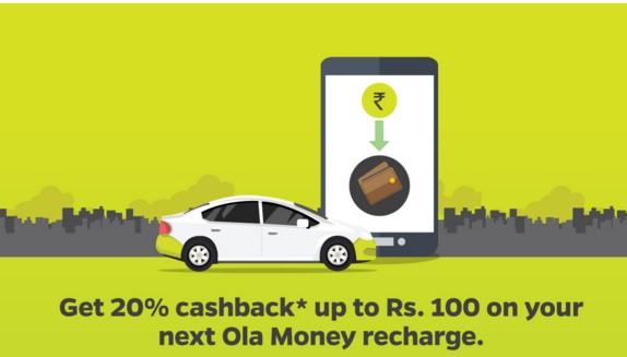 Ola GOCASHLESS – Recharge Ola Money And Get 20% Cashback Up To Rs.100