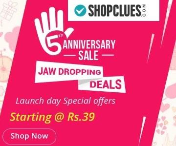 Shopclues 5th Anniversary Sale – Upto 100% Cashback