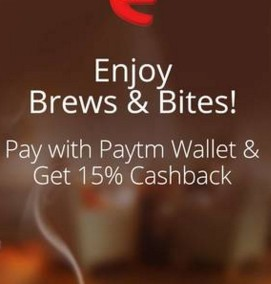 Cafe Coffee Day – Get 15% cashback when you pay via Paytm wallet