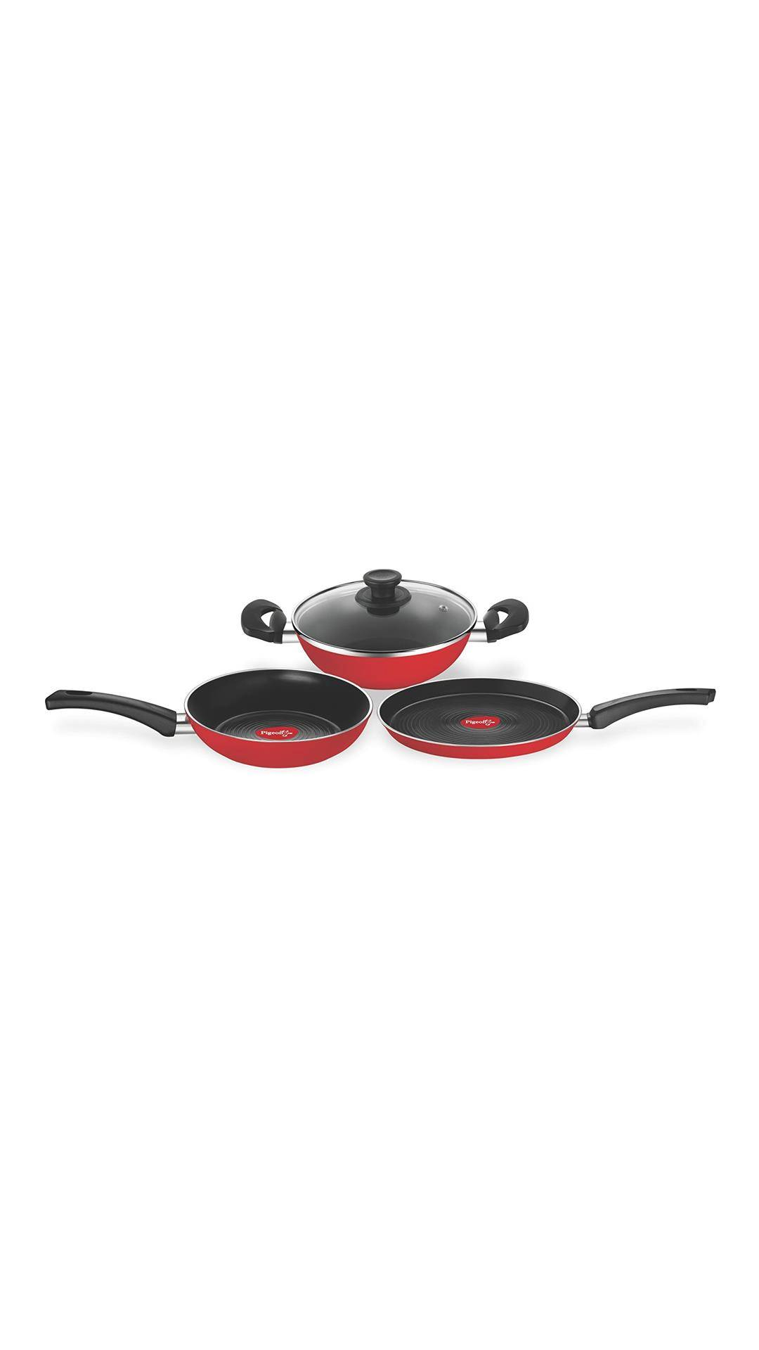 Pigeon Carlo Induction Base Aluminium Cookware Gift Set, 4-Pieces, Red @ Rs.849